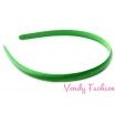 Plastová čelenka krytá stuhou zelená - 1cm