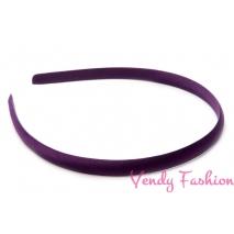 Plastová čelenka krytá stuhou tmavě fialová - 1cm