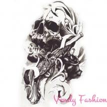 3D dočasné tetování pro muže lebka 21x15cm