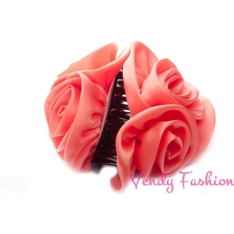 Skřipec do vlasů s růžemi růžový