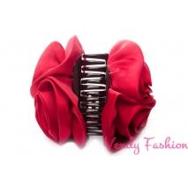 Skřipec do vlasů s růžemi červený