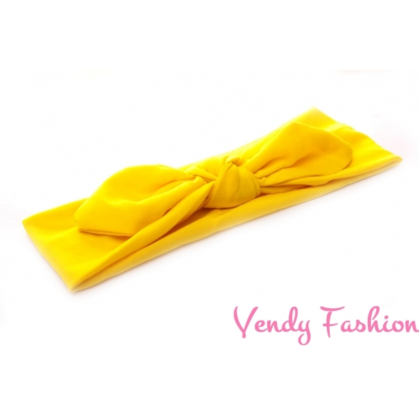 Látková čelenka s uzlem žlutá - Vendy-Fashion.cz dfcf543580