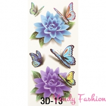 3D dočasné tetování Květy a motýlci