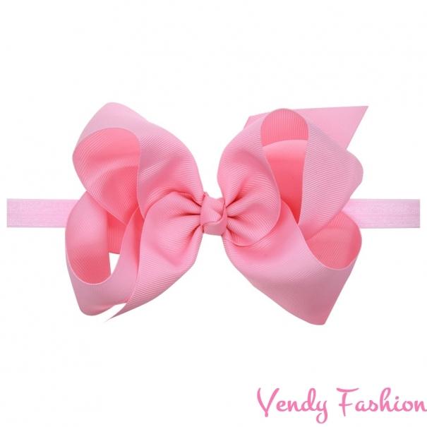 Dětská čelenka s velkou mašlí světle růžová - Vendy-Fashion.cz d3ae703570