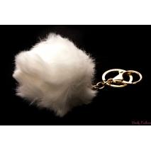 Chlupatá bambule na kabelku bílá - 9cm