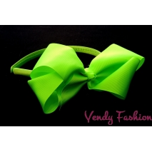 Plastová čelenka s mašlí křiklavě zelená
