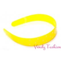 Široká plastová čelenka s puntíky žlutá