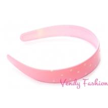 Široká plastová čelenka s puntíky světle růžová