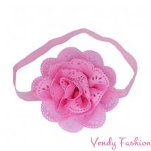 Dětská čelenka s květem světle růžová