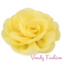 Kytička do vlasů šifonová žlutá - 8,5cm