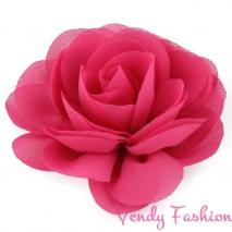 Kytička do vlasů šifonová tmavě růžová - 8,5cm