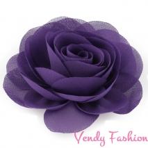 Kytička do vlasů šifonová tmavě fialová - 8,5cm