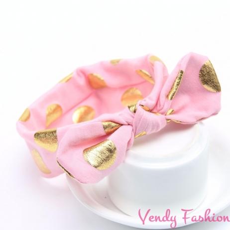 Světle růžová dětská vázaná čelenka se zlatými puntíky - Vendy ... 89396b921f