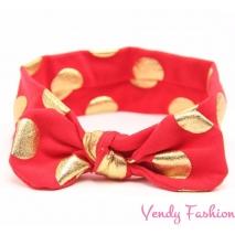 Červená dětská vázaná čelenka se zlatými puntíky