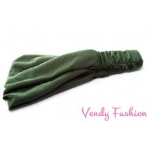 Široká látková čelenka zelená