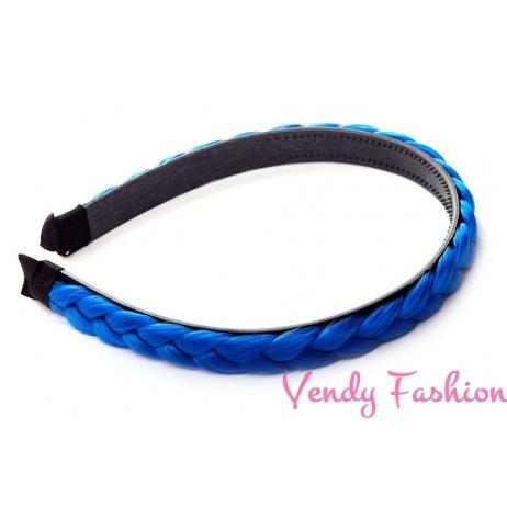 Plastová čelenka s pletenou ozdobou modrá