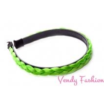 Plastová čelenka s pletenou ozdobou zelená