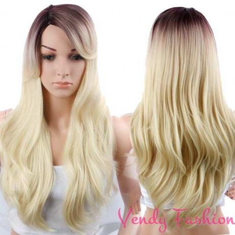 Ombre paruka s dlouhými vlasy z hnědé do blond