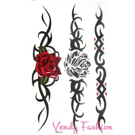 Dočasné tetování ornamenty s růžemi