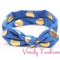 Modrá dětská vázaná čelenka se zlatými puntíky