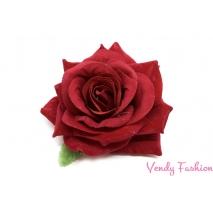 Červená růžička do vlasů