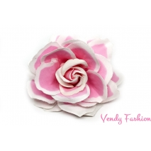 Růže do vlasů růžová s bílými okraji