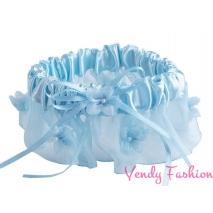Podvazek svatební ozdobný modrý šíře 6-7cm
