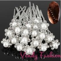 Vlásenka štrasová s bílou perličkou